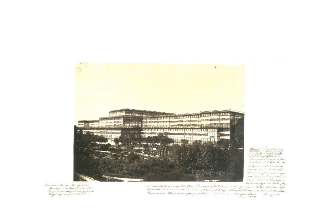 Il Glast Palast a Monaco in una fotografia (di autore non identificato) annotata da G. Castellazzi il 16 luglio 1861 [Accademia delle Arti del Disegno, Archivio Castellazzi]